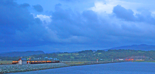 The last train of the night crosses the Cob at Porthmadog, North Wales
