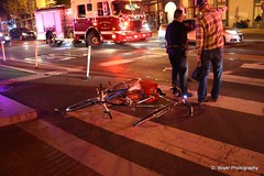 Bike vs bike accident at Octavia and Market streets in San Francisco