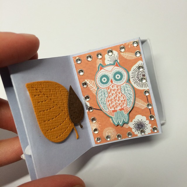 Owl Folk mini match box book by StickerKitten