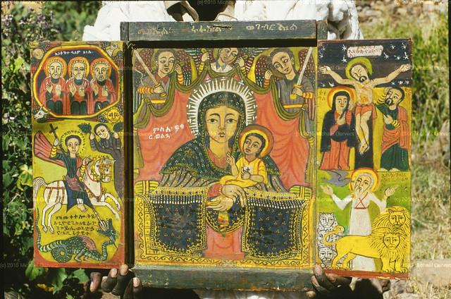 ቅዱስ ሩፋኤል የምስለ ፍቁር ወልዳ ሥዕል ላይ ከቅዱስ ሚካኤልና ከቅዱስ ገብርኤል ጋር፡፡ Rafael with Micheal and Gabriel in the Icon Virgin Mary 20 C. large
