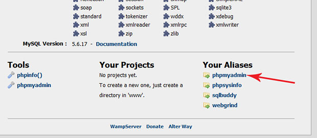 Creating a new MySQL Database using phpMyAdmin in WAMP or