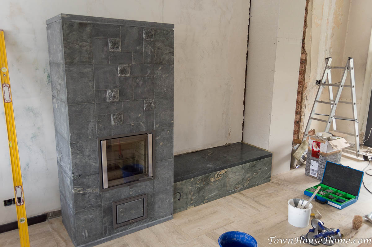 soapstone fireplace installation finished