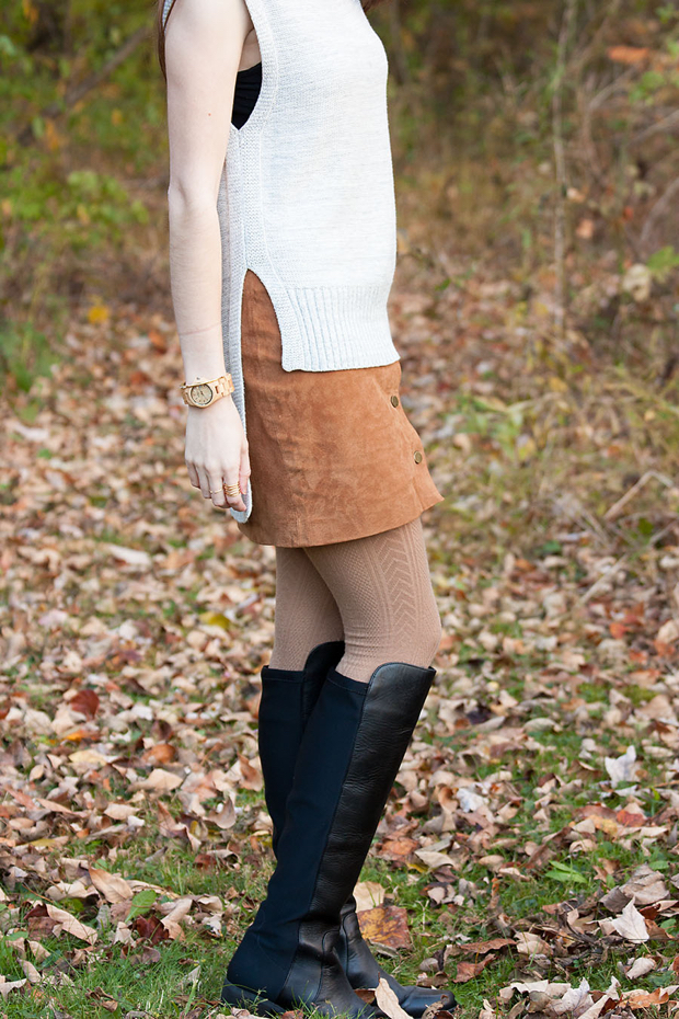Black Knee High Boots, Button Front Suede Skirt, Grey Sweater, Wood Watch