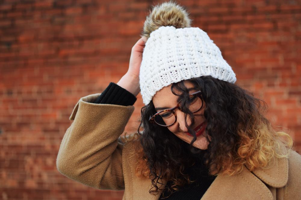 faux fur pompom hat for winter