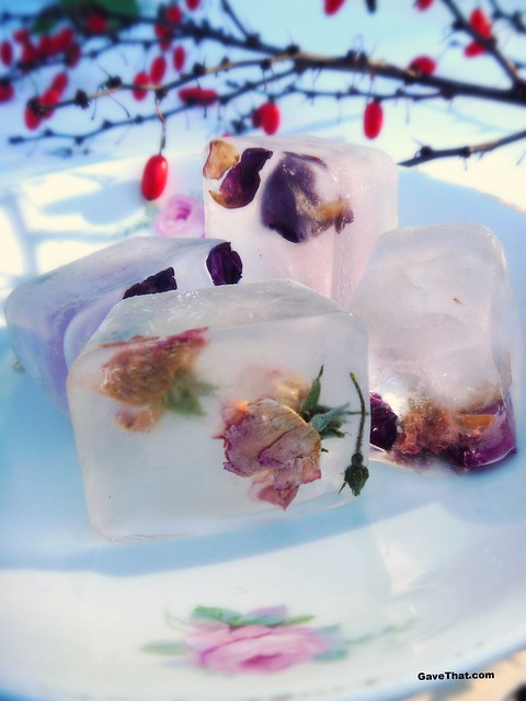 Making Rose Bud Ice Cubes