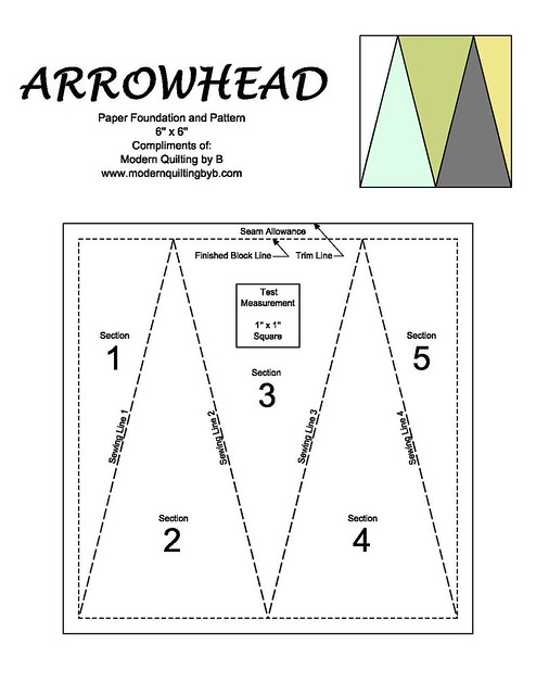 Free Arrowhead Paper Foundation Pattern