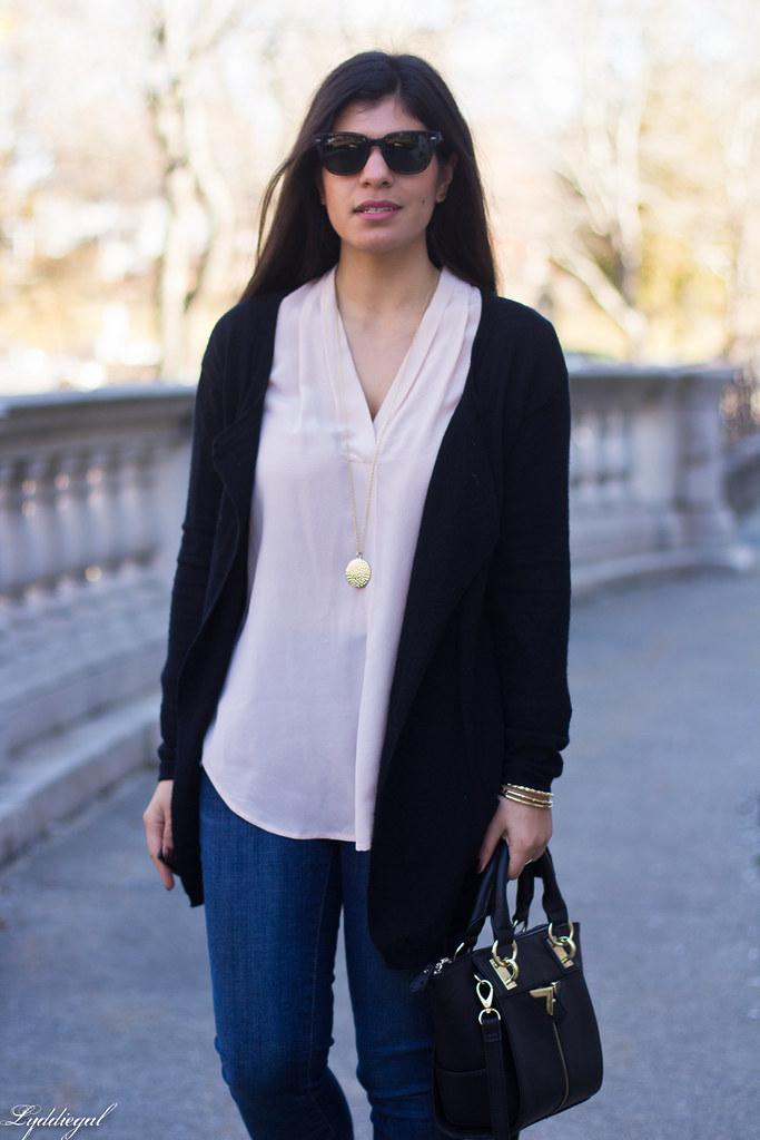 pink silk blouse, jeans, black cardigan, booties-4.jpg