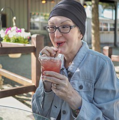 A tickled V attempting to drink a celebratory black currant rita... whilst visiting cousin Steve and Cecile... #mansfield #texas #margarita #portraitphotography #portrait #cancersucks👎 #olympus #em10markii #20mm