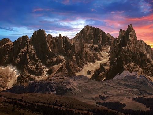 dolomites mountains sky dawn alp colours clouds