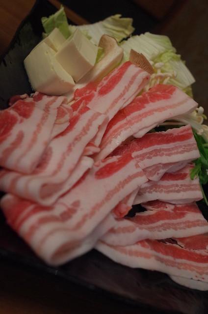 鍋物:越後もち豚のしゃぶしゃぶ 01