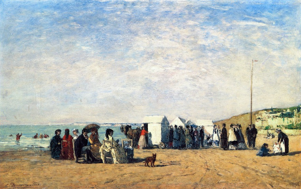 Bathing Hour on the Beach at Trouville by Eugène-Louis Boudin - 1868