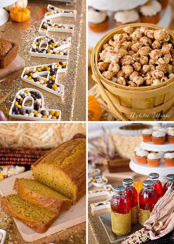 Using cute letter trays filled with M&M's® and adding glitter to Snapple® bottles is a cute way to dress up the table. And for more treats churro popcorn and this easy pumpkin bread create a great party table