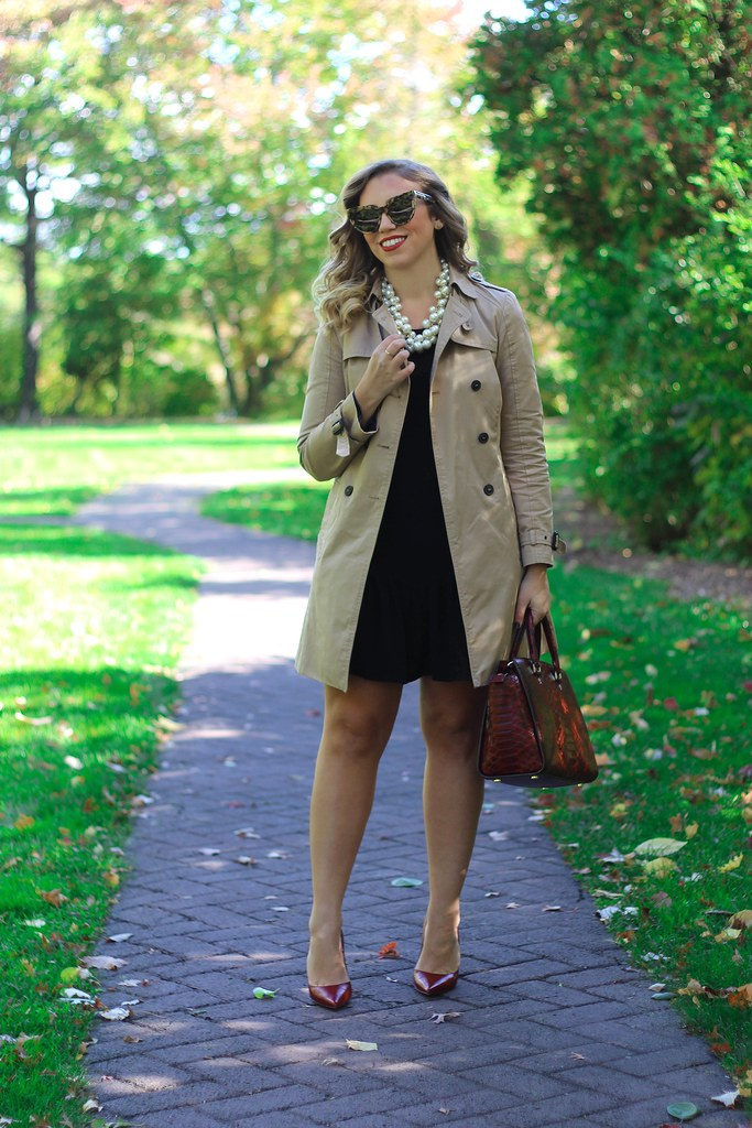 Fall Trench Coat Red Pumps