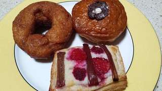 Cinnamon sugar doughnut, nutella doughnut, rhubarb and raspberry danish from Crumbs