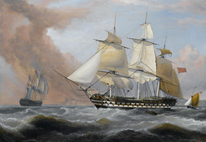 Dominic Serres - Captain George Montagu of the 'Pearl', 32 guns, engaging the Spanish frigate 'Santa Monica' off the Azores, 14th. September 1779 (1781)