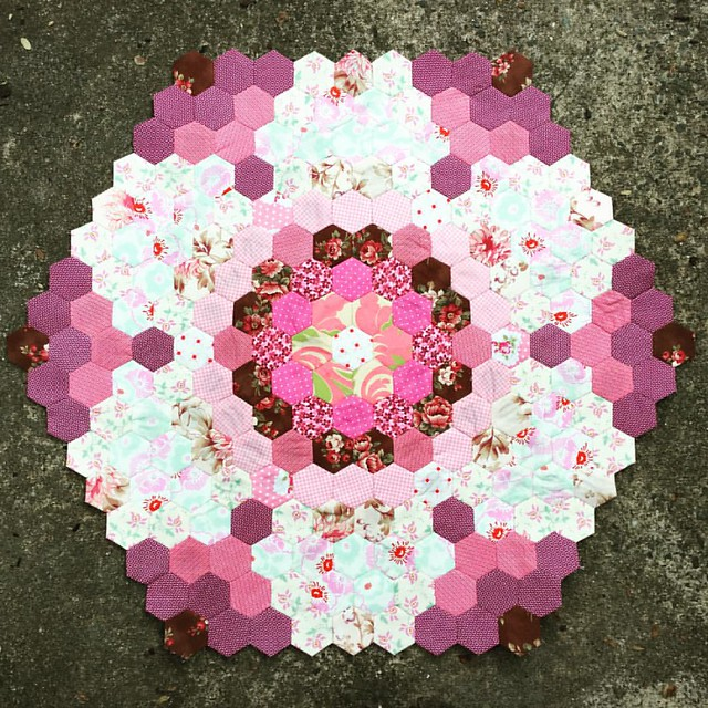 My mega hexagon of #hexies has grown into 7 #hexagons or 8 if the container hexagon is included. I'm enjoying watching it grow. Checkout details on http://mypatchwork.wordpress.com