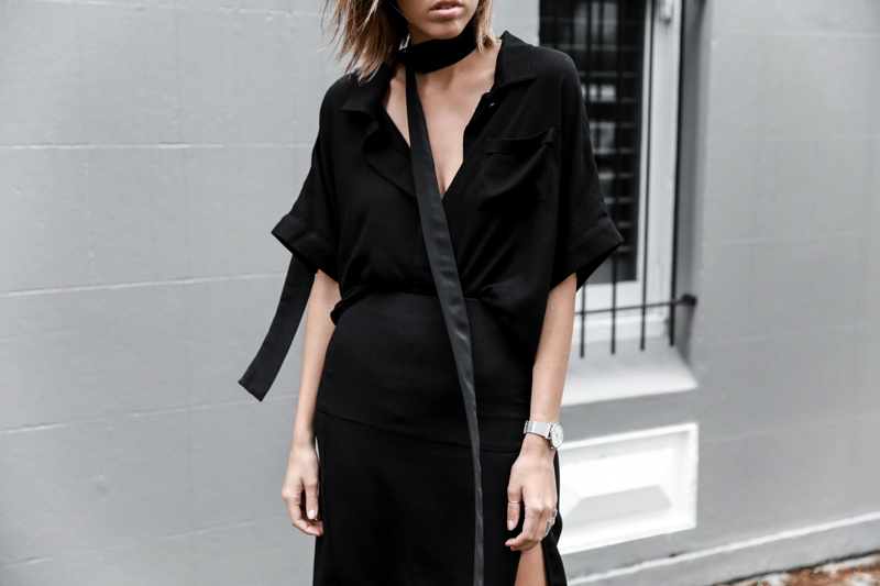 all black outfit, workwear, street style, skinny scarf, Daniel Avakian, split skirt, Third Form, fashion blogger, modern legacy (1 of 1)