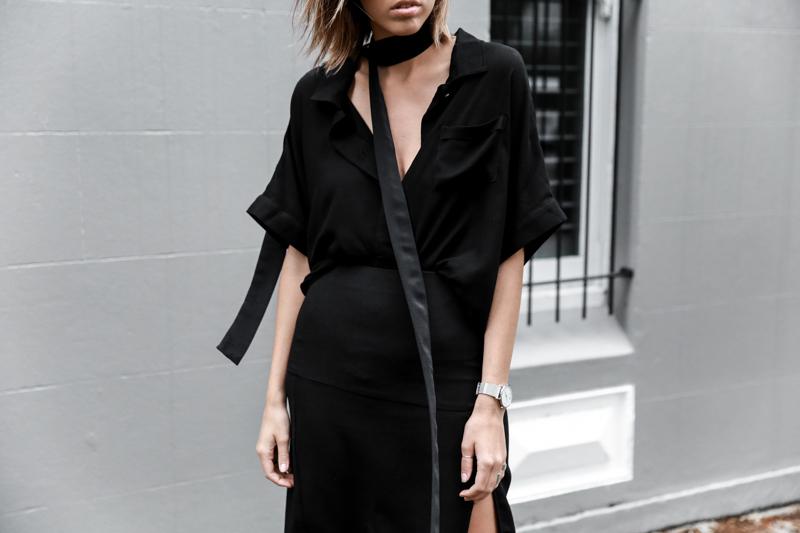 all black outfit, workwear, street style, skinny scarf, Daniel Avakian, split skirt, Third Form, fashion blogger, modern legacy (1 of 1)