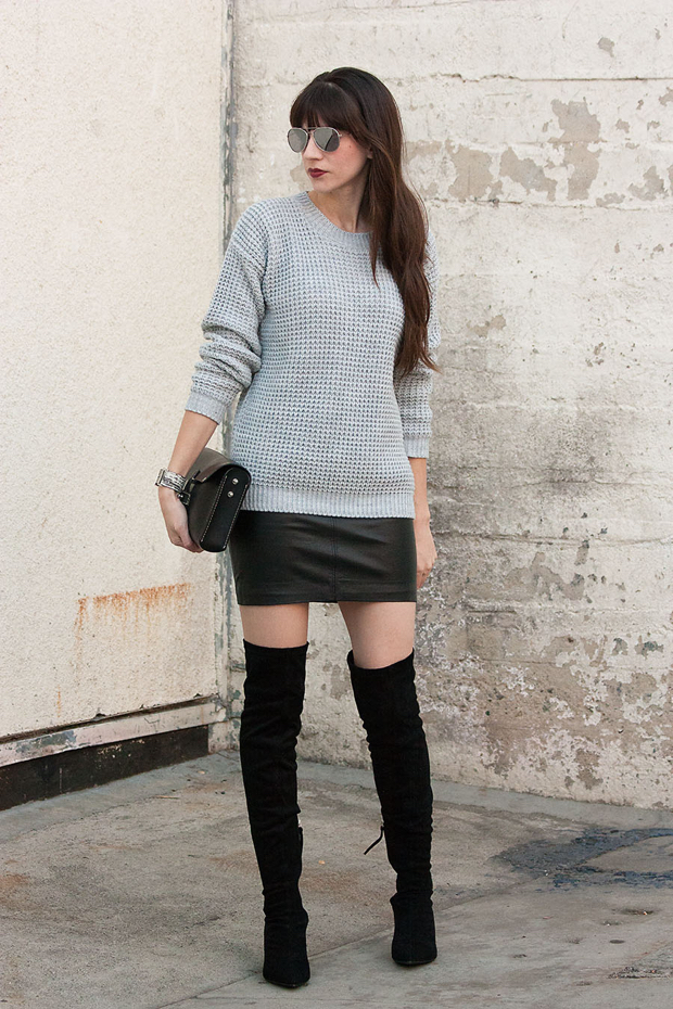 Over the Knee Boots, Black Mini Skirt, Grey Sweater