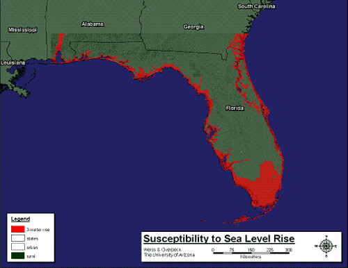 Sea Level Map Of Florida.Florida 3 Meter Florida With 3 Meter Sea Level Rise Mark Sumner