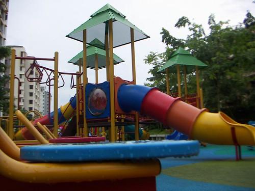 playground set in the rain