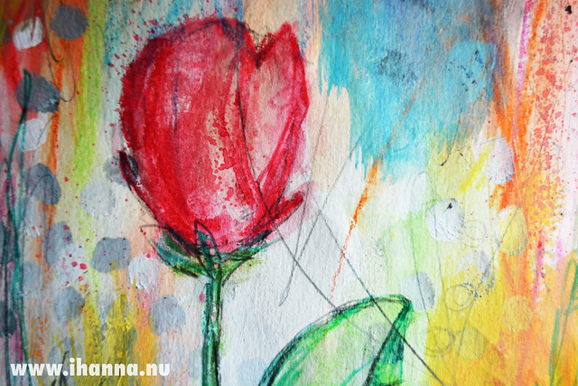 Art Journal Detail: Red tulip drawing by iHanna of www.ihanna.nu