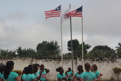 lswe participants standing under the flags