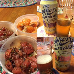 #foodland poke & #rheinlander shore break IPA & Hefeweizen #hawaii #craftbeer #poke