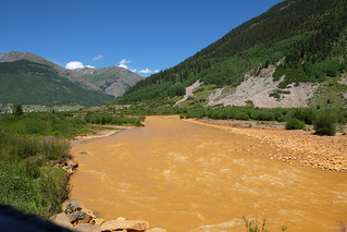 Aimus river after acid mine drainage spill