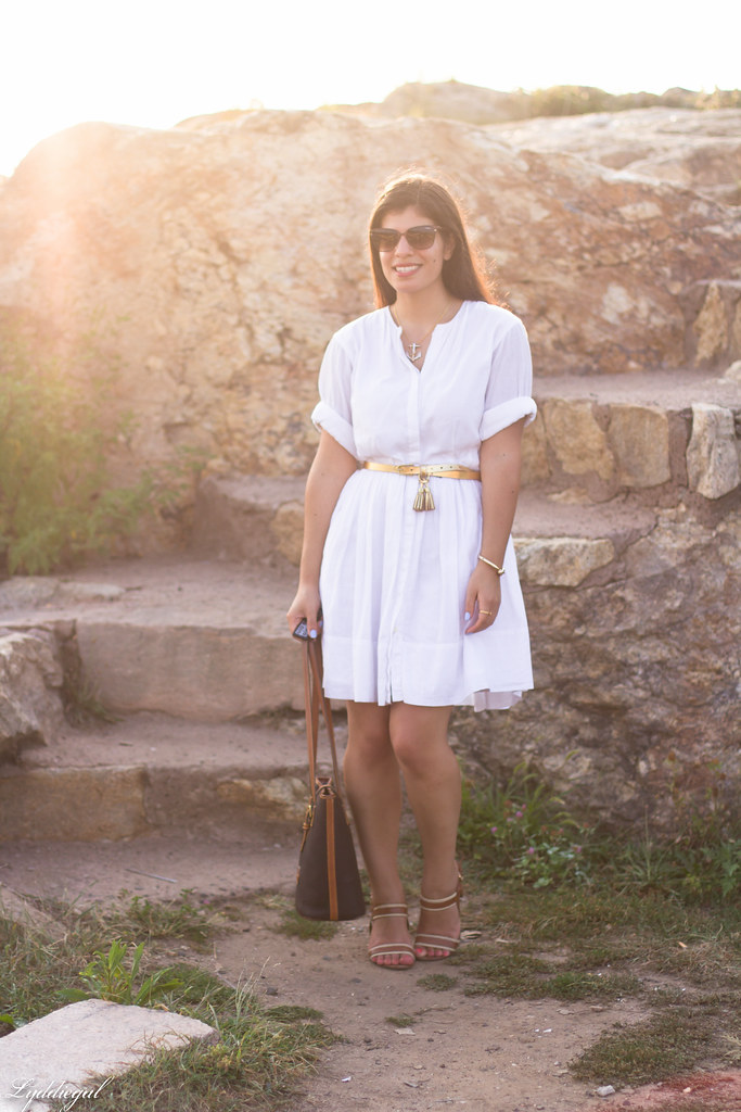 white shirt dress, gold tassel belt, brown sandals-1.jpg