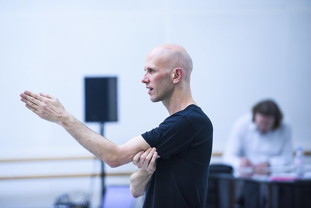 Wayne McGregor and Koen Kessels in rehearsal for Woolf Works, The Royal Ballet © 2015 ROH. Photograph by Tristram Kenton