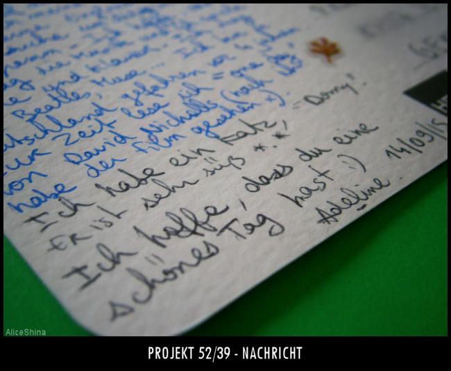 Projekt 52/39 - Nachricht