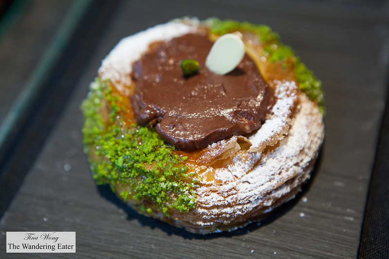 Chocolate and pistachio danish