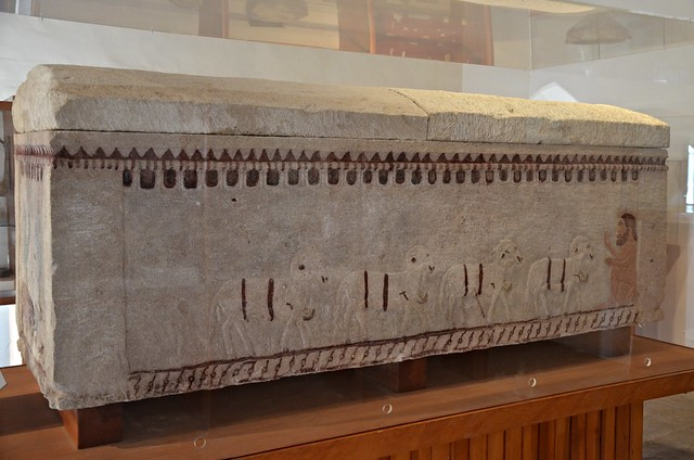 Limestone sarcophagus painted with Homeric scenes, unearthed in 2006 in a tomb near the village of Kouklia probably belonging to an ancient warrior, 1st half of 5th century BC, Palaepaphos Museum, Cyprus