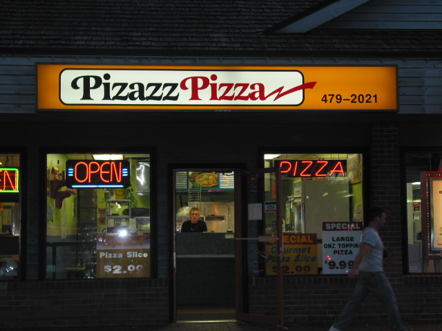 Pizzazz Pizza backlit cabinet