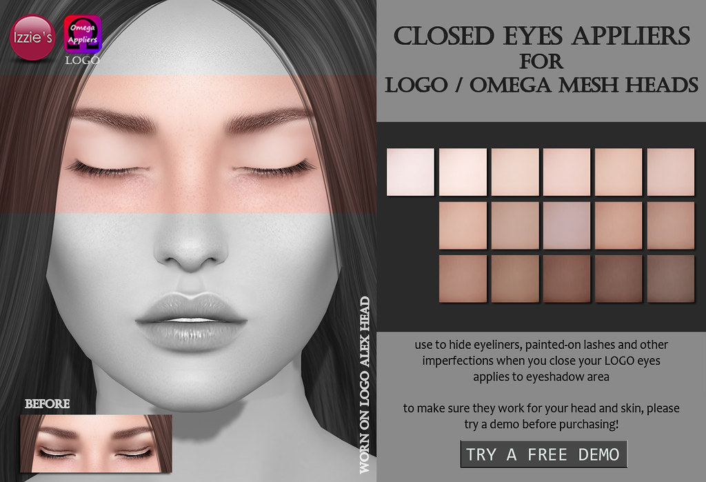 Closed Eyes Appliers (LOGO / Omega) - SecondLifeHub.com
