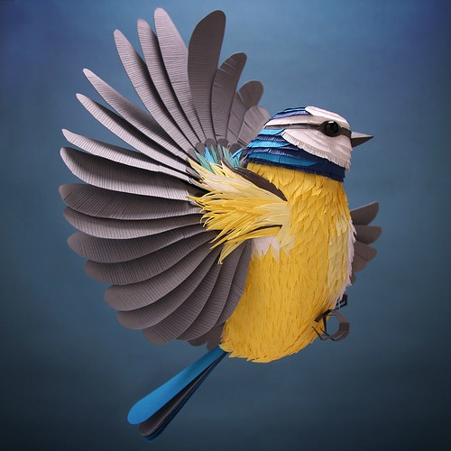 Paper Sculpture Blue Tit Bird