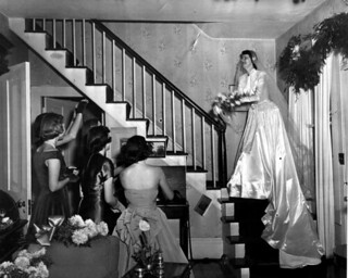 Sally Caldwell McCord throwing her bridal bouquet - Florida