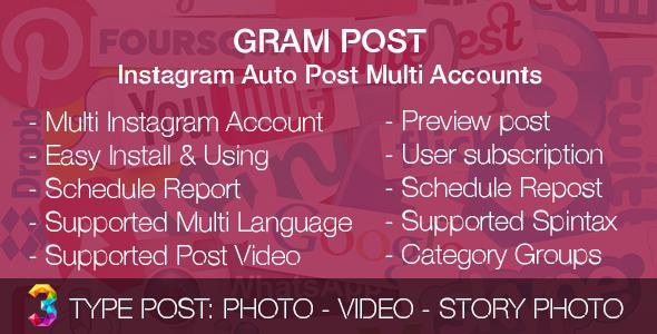 Gram Post v1.0 - Instagram Auto Post Multi Accounts