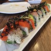 Roll special with salmon, albacore, avocado and daikon, topped with crispy fried seaweed at @bamboosushi! :yum::yum: