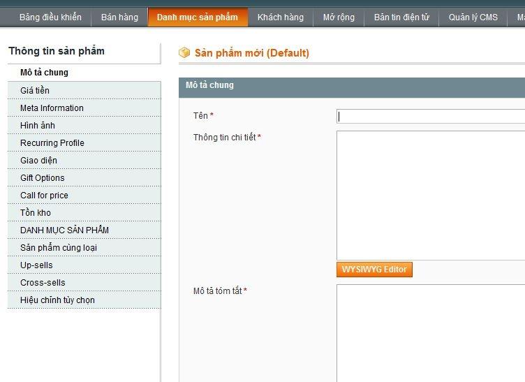 đăng sản phẩm trong Magento