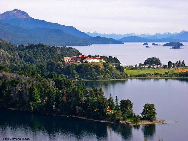 View to Llao Llao Hotel Golf & Spa Resort Across Lago Perito Moreno, San Carlos de Bariloche, Río Negro, Argentina