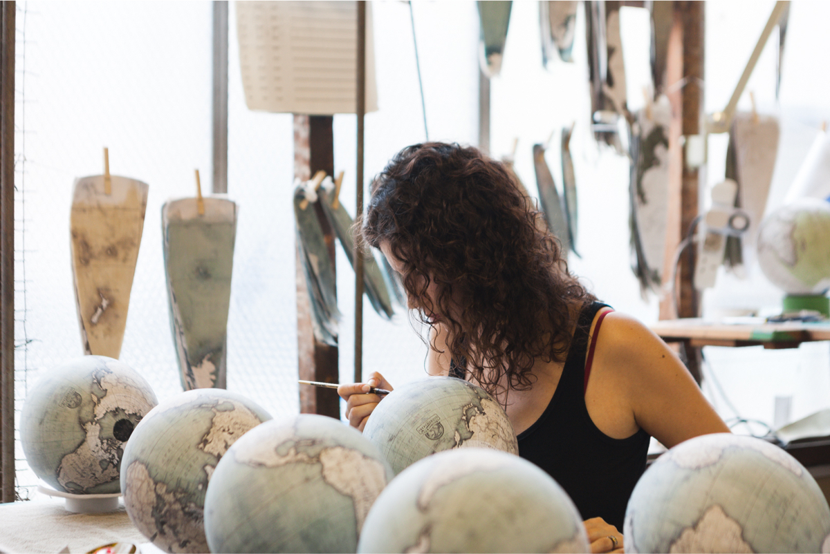 hand painting globes in the Bellerby and Co studio