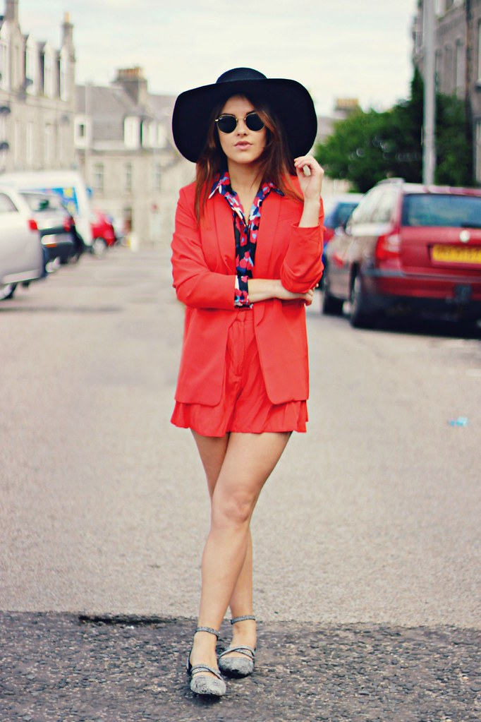 ASOS red shorts suit The Little Magpie 1
