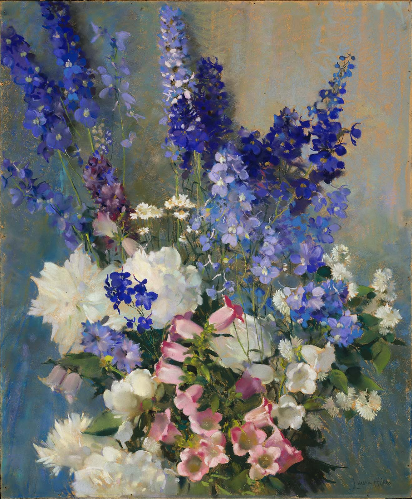 Larkspur, Peonies, and Canterbury Bells, by Laura Coombs Hills, circa 1926