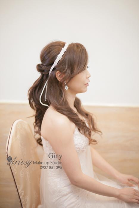Giny,愛瑞思造型團隊,台北新娘秘書,新娘秘書,清透妝感,蓬鬆盤髮,線條盤髮,修剪劉海,歐美手工飾品,鮮花造型