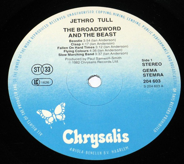 "JETHRO TULL THE BROADSWORD AND THE BEAST Holland 12"" VInyl LP"