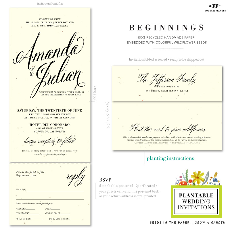 Typography Send and Sealed Wedding invitations
