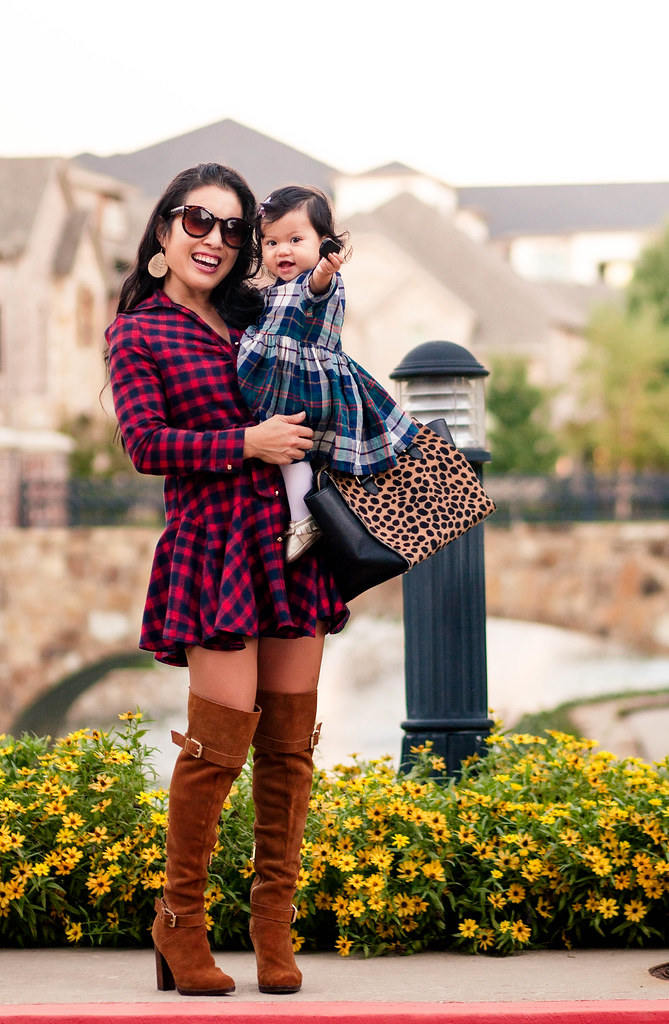 cute & little blog | petite fashion | red plaid dress, suede over the knee boots, leopard satchel | plaid mommy + me fall outfits