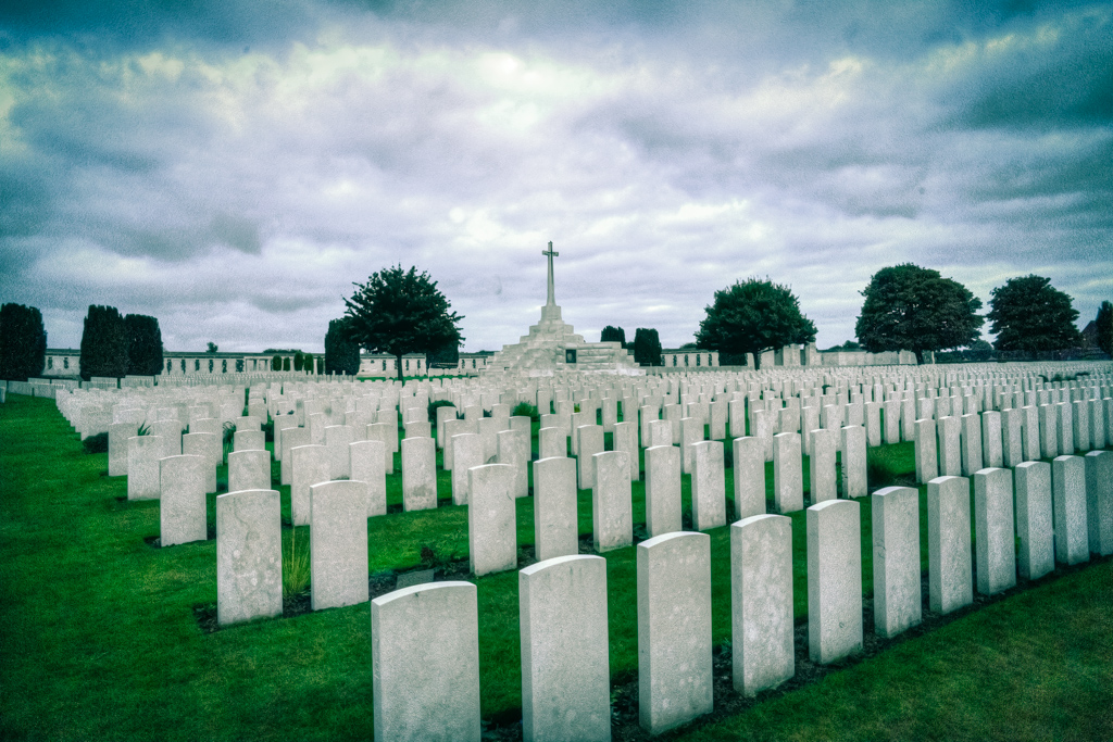 Tyne Cot cemetery, the largest cemetery for Commonwealth forces in the world, for WW1. The 'Cross of Sacrifice' can be seen in the background